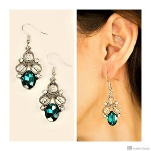 A CROWN Pleaser - Blue Faceted Glass Hook Earrings